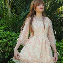 Pink High-waist Chiffon Floral Dress